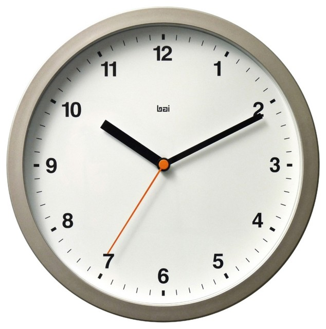 Contemporary Designer Helio White 10 Wide Modern Wall Clock Contempor