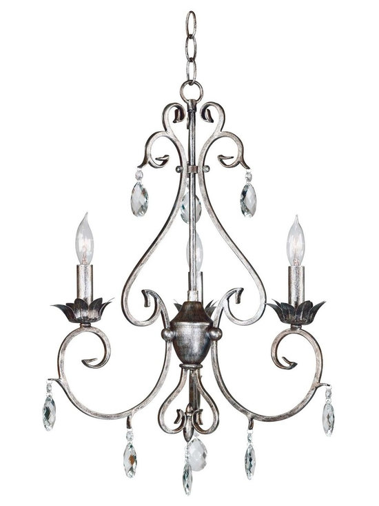 "Kenroy Home Antoinette 3-Light Chandelier - Like vintage jewelry, this grouping in a Weathered Silver finish and cut glass accents will put your exquisite taste on display. Delicate curves with a French design influence let Antoinette hang with a sumptuous aristocratic air. Dimensions: 21"" High, 17"" Wide."