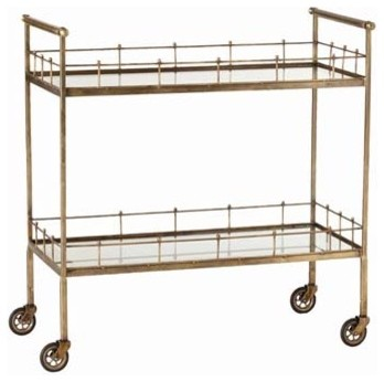 Lisbon Vintage Brass/Glass Bar Cart traditional-bar-carts