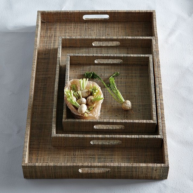 Raffia Trays contemporary-serveware