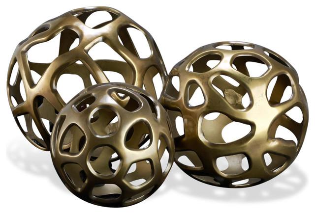 Ava Sculptural Modern Rustic Metal Sphere Sculptures- Set of 3 transitional-sculptures