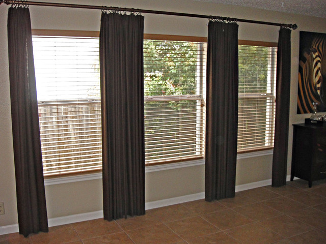Draperies with rod contemporary-curtain-rods
