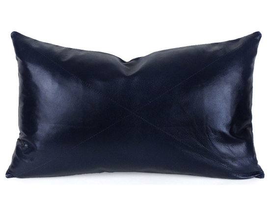 Pfeifer Studio - Navy Blue Leather Pillow - Our classic navy blue leather pillow is created in Napa leather, a full-grain sheepskin hide, which is known for its softness and durability. The pillow has a matching leather back, medium-fill feather and down inner, and closes with a hidden zipper.