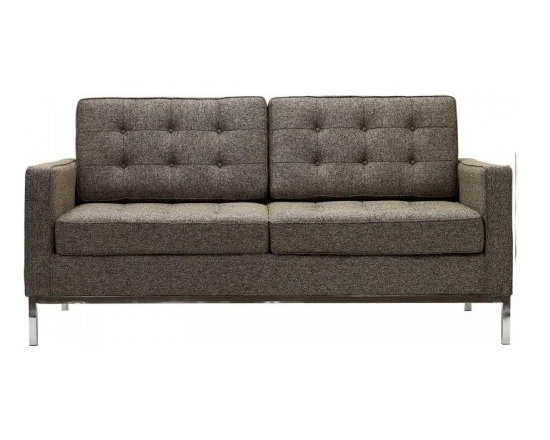 Florence Knoll Style Loveseat Tweed Oatmeal - Florence Knoll, an acclaimed architect and designer, first conceived this beautiful chair in 1956. Knoll's philosophy for furniture design comes from the value that she placed on practicality and aesthetic beauty. The pieces resulting from her philosophical vision are considered to be minimalistically beautiful without compromising on durability and comfort. Knoll was also known to study and collaborate with renowned architect and designer Mies Van Der Rohe, this collaboration also lended a hand in her highly sought after artistic vision. The classic trio was designed by Knoll using a durable stainless steel frame with minimal materials. The chair features beautiful cubic cushions complimented with compressed buttons in a functional layout which provides both style and comfort to the thin, minimalist supporting arms. The Knoll Sofa, Loveseat, and Chair are becoming more and more highly desired as their minimal yet practical design can adapt perfectly into today's modern home or space.