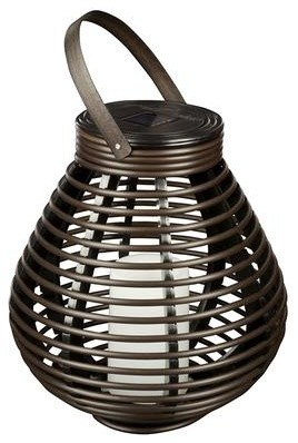 Solar Wicker Tabletop Or Patio Lantern Contemporary
