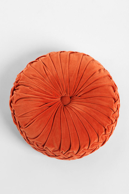 Round Velvet Pintuck Pillow, Dark Orange - Contemporary - Decorative Pillows - by Urban Outfitters