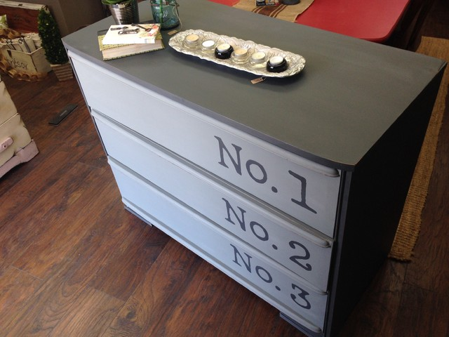 Gray Two Tone Dresser Vintage Chest Of Drawers