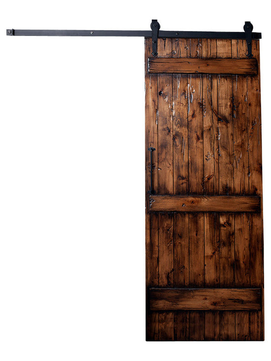 Rustica Hardware - Ranch Barn Door (Kit) 7 Ft H X 3 Ft W - Stain + Clear Coat Glaze (Distressed) - In the early 1800's, ranching and farming was the typical American's occupation as the rural west provided ample land for raising crops and livestock. The Ranch Style Barn Door is a design that reflects on an earlier architectural era where ranchers built vast barns to house their livestock. This barn door design was a simple yet sturdy solution characterized by its three horizontal slats face mounted to the door.  Comes with all parts needed to assemble your door.  EVEN AFTER PROPERLY SEALING A DOOR, WARPING AND BOWING MAY STILL OCCUR WHEN CHANGING CLIMATES AND TEMPERATURES. THERE ARE NO RETURNS, EXCHANGES OR REFUNDS FOR WARPED OR BOWED DOORS, FINISHED OR UNFINISHED.