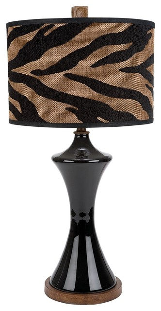 Contemporary Black Glass With Zebra Print Shade Table Lamp