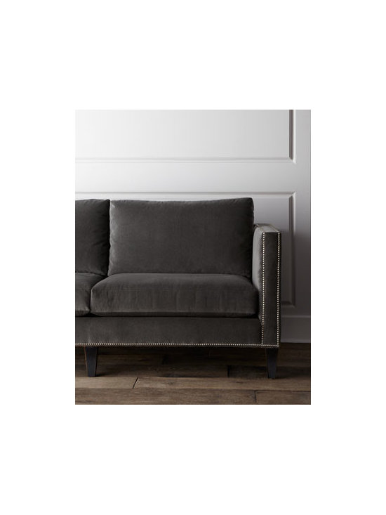 """Massoud - Massoud """"Kinley"""" Sofa - The clean construction of this earthy sofa is finished with a studded trim that gives a nod to antique design. Frame made of furniture-grade hardwoods; suspended coil frame system. Cotton/acrylic upholstery. Nailhead trim. Finished back. 83""""W x 38..."""
