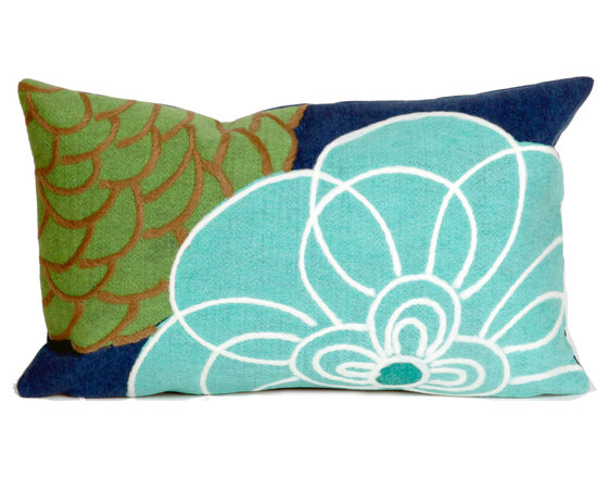"""Trans-Ocean Outdoor Pillows - Trans-Ocean Liora Manne Disco Blue - 12"""" x 20""""- - Designer Liora Manne's newest line of toss pillows are made using a unique, patented Lamontage process combining handmade artistry with high tech processing. The 100% polyester microfibers are intricately structured by hand and then mechanically interlocked by needle-punching to create non-woven textiles that resemble felt. The 100% polyester microfiber results in an extra-soft hand with unsurpassed durability."""