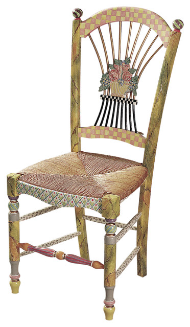 Light Flower Basket Side Chair | MacKenzie-Childs eclectic-dining-chairs