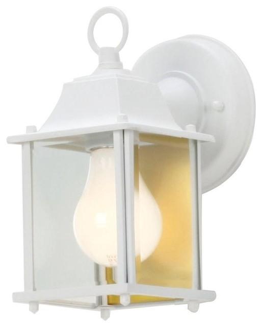 Hampton Bay Wall Mounted 1 Light White Outdoor Wall Lantern Bpm1691 Wht Contemporary Outdoor