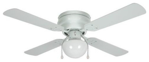 "White 42"" Hugger Ceiling Fan w/ Light Kit transitional-ceiling-fans"