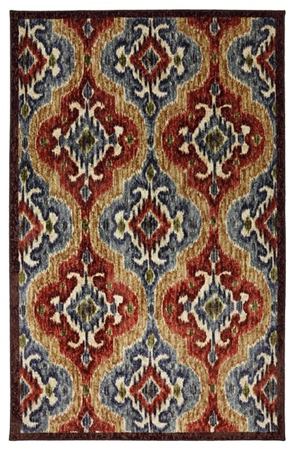 Contemporary Primary Ikat Primary 5'x8' Rectangle Multi Color Area Rug contemporary-area-rugs