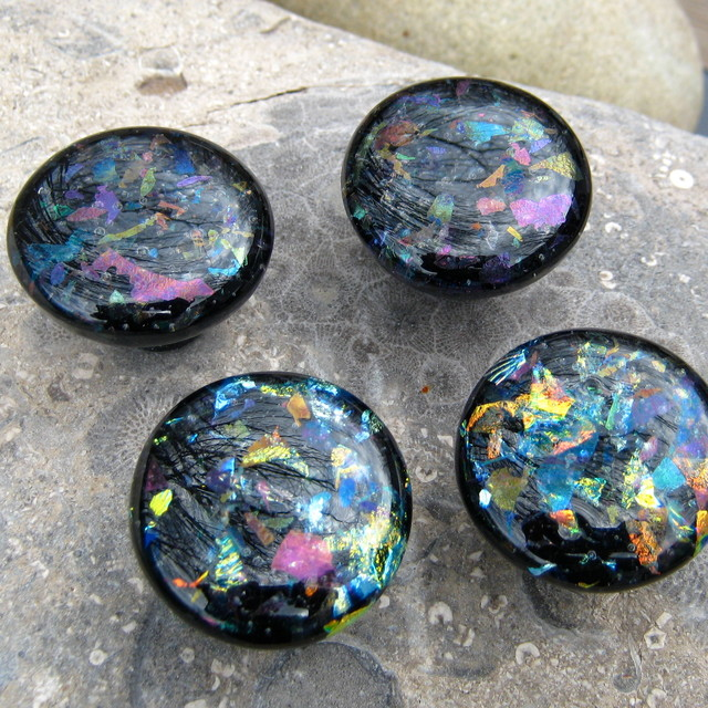 Dichroic black fused glass cabinet hardware knobs handles pulls by Torch Lake Gl - Modern ...