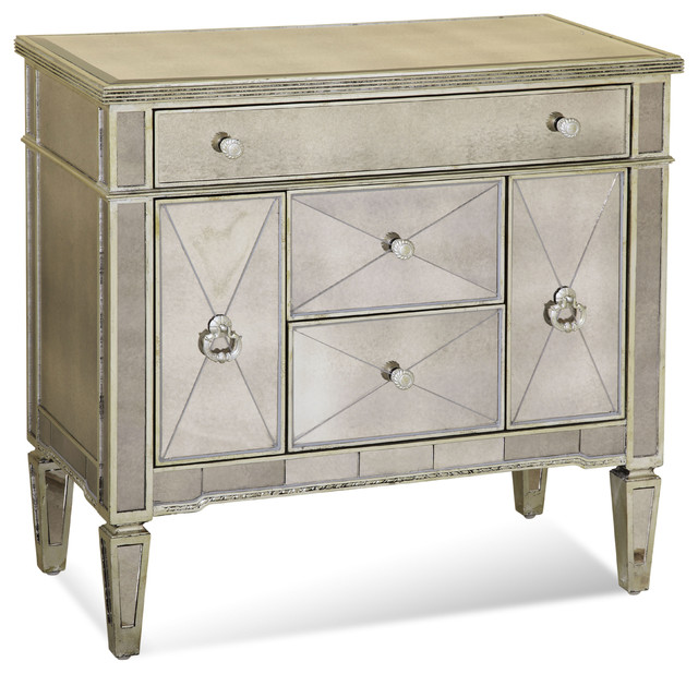 Borghese Mirrored Chairside Chest traditional-dressers
