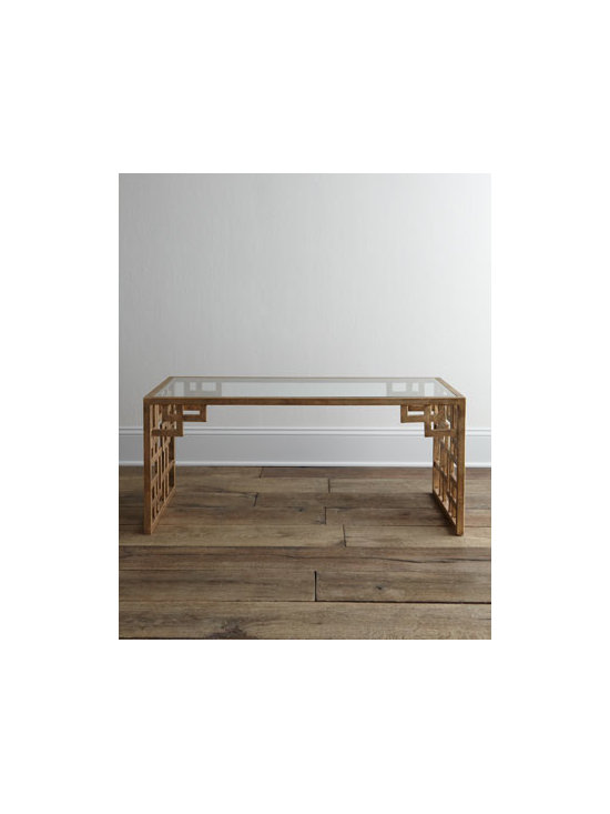 """Horchow - Lovelace Coffee Table - Exclusively ours. Asian-style fretwork detailing on the ends and apron adds interest to the otherwise clean lines of this glass-topped coffee table. Handcrafted of welded iron. Hand-painted antiqued-gold finish. 44""""W x 22""""D x 19""""T. Imported. Boxe..."""