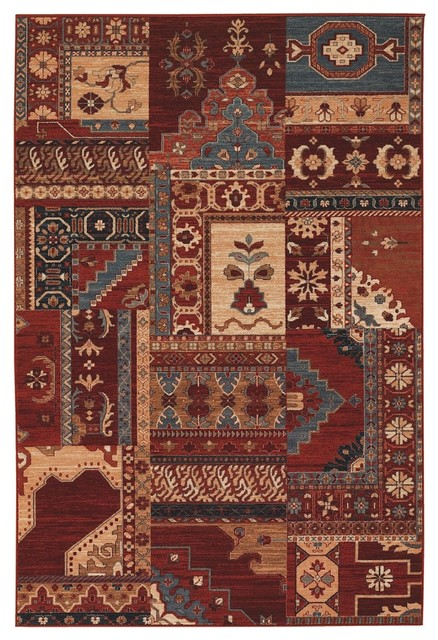 "Transitional Timeless Treasures 6'6""x10' Rectangle Burgundy-Rust Area Rug transitional-rugs"