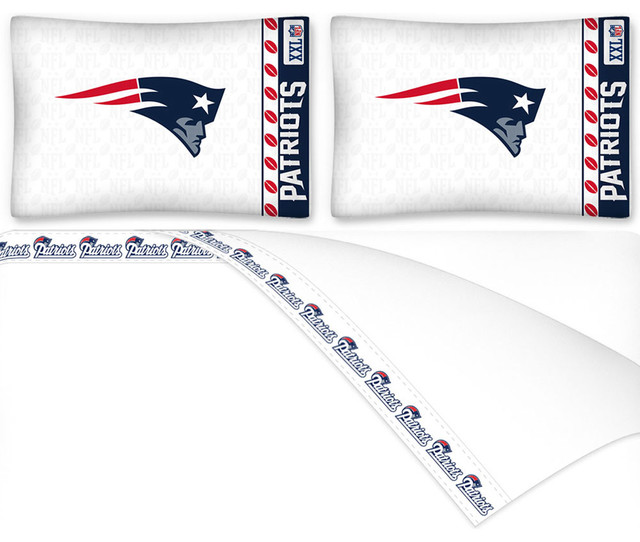 Nfl New England Patriots Football Full Bed Sheet Set Contemporary Kids Bedding By Obedding