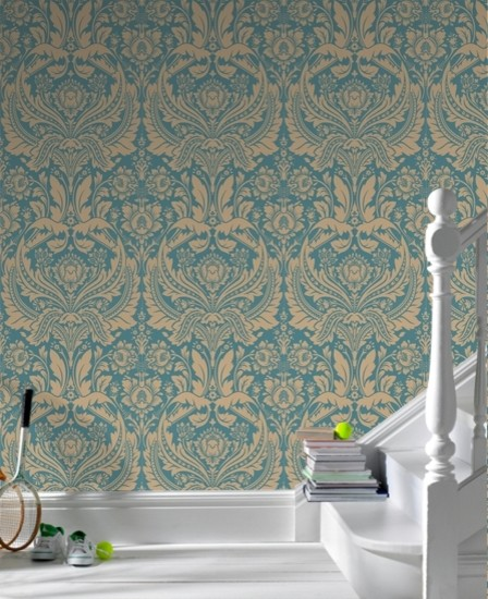 Desire Dark Green Damask eclectic-wallpaper