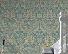 Desire Dark Green Damask eclectic-wallpaper