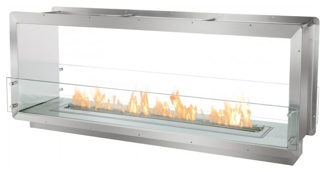 Double Sided Ethanol Burning Firebox Fireplace Wall Insert Contemporary Indoor