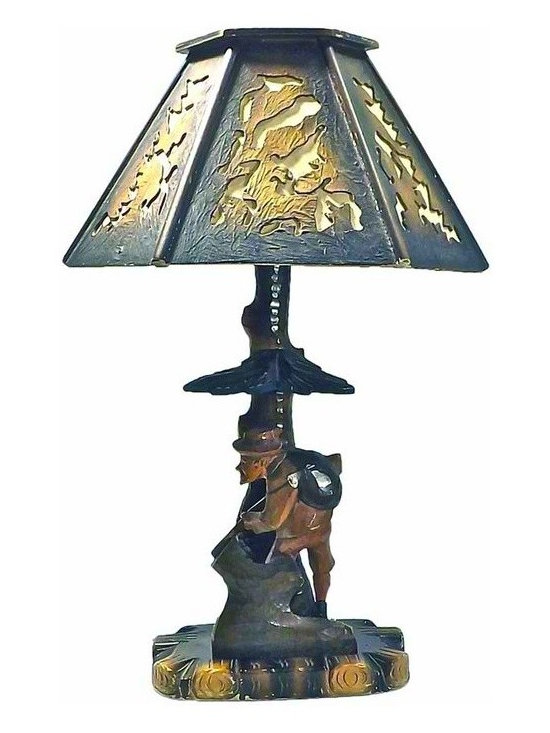 Bavarian Hand Carved Lamp - Vintage Bavarian Hand Carved Lamp depicting a German hunter sheltering under a tree branch. Comes with hand carved, hand crafted, textured shade. Sheltering branch is removable and switch is on base.