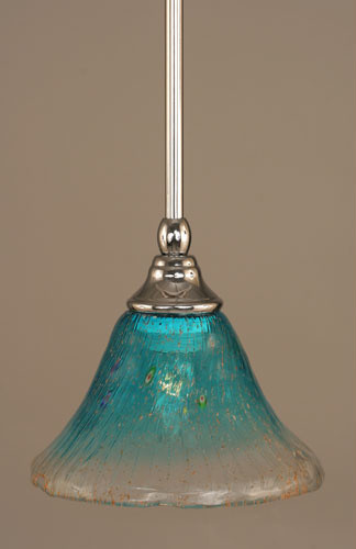 Chrome Stem Mini Pendant with Teal Crystal Glass eclectic-pendant-lighting