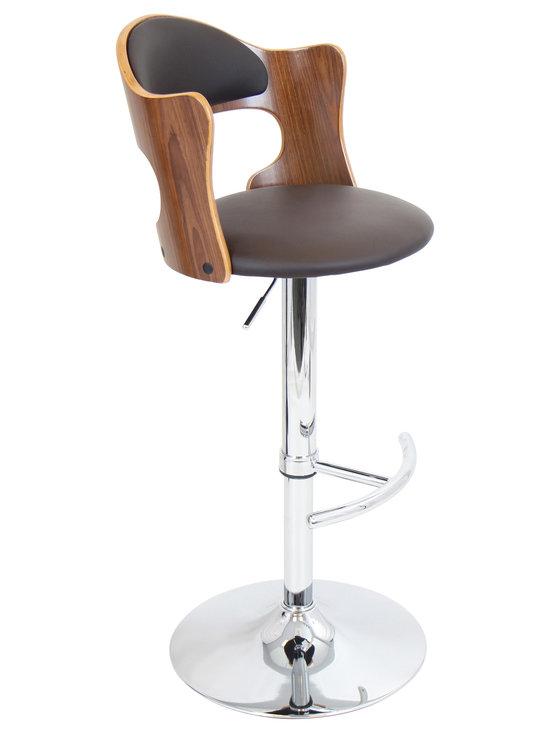 "Lumisource - Cello Bar Stool, Walnut + Brown Matte Pu - 20""L x 19""W x 37.5-42""H"