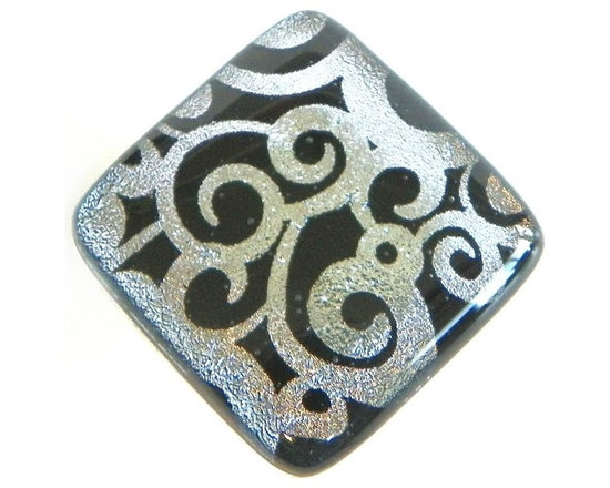 "Silver swirls on black fused art glass accent tile - Art glass accent tile by Uneek Glass Fusions. One of a kind black and silver etched dichroic glass accent tile for kitchen backsplash, floor accents, swimming pool border tile, liner tile accents, and more. This tile is 2"" x 2"" but custom sizes always available."