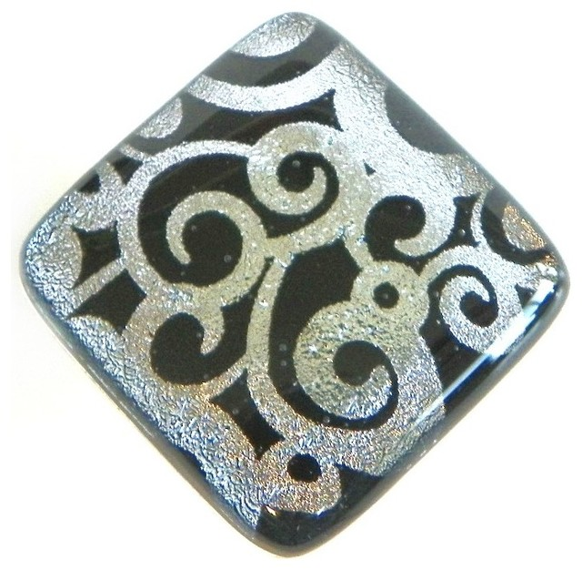 Silver swirls on black fused art glass accent tile contemporary-tile