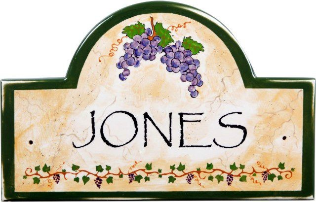 Italian vineyard address and house numbers plaques for Mediterranean house numbers