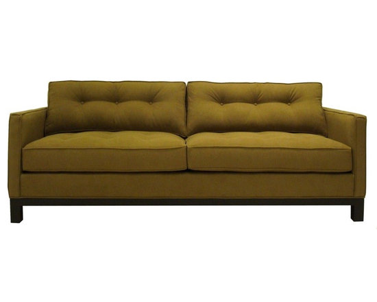 Cosmo Sofas - The straight, clean lines of the arms and base combined with classic button tufting on the cushions make the Cosmo sofa a chic twist on tradition. The feather and down topped cushions come standard, along with the kiln-dried hardwood and heavy gauge spring suspension. This sofa is made to order in the USA and can be delivered to your home in 6 - 8 weeks.