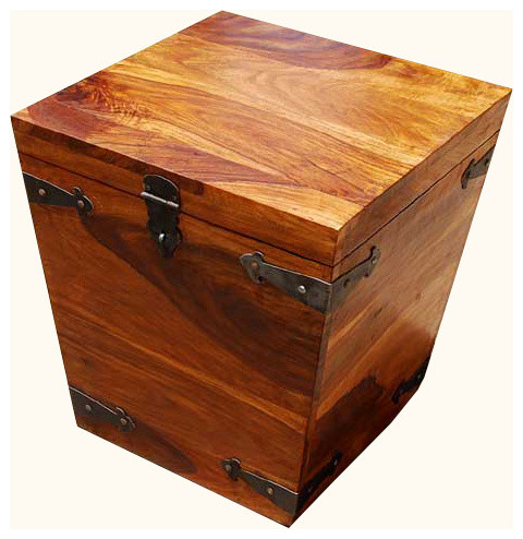 Solid wood square storage trunk coffee side table - Decorative trunks and boxes ...
