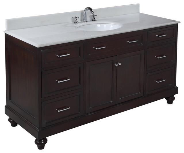 "Amelia 60"" Single Sink Bath Vanity, White/Chocolate - Traditional - Bathroom Vanities And Sink ..."