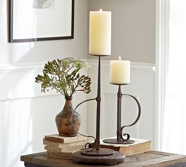 Watchman Metal Pillar Candle Holder, Small traditional-candleholders