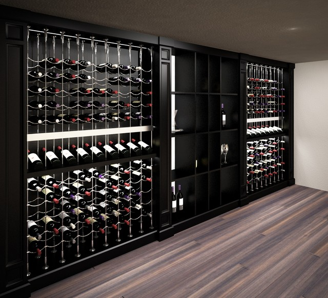 Custom Wine Cellar Featuring The Cable System Transitional Rendering Toronto By