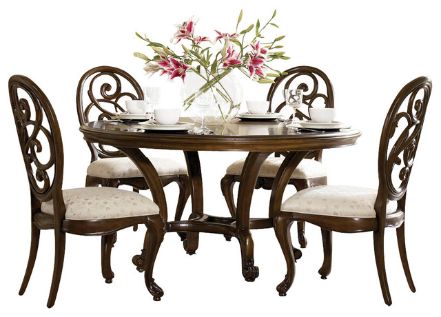 American Drew Jessica McClintock 5-Piece Round Splat Dining Room Set traditional-dining-tables