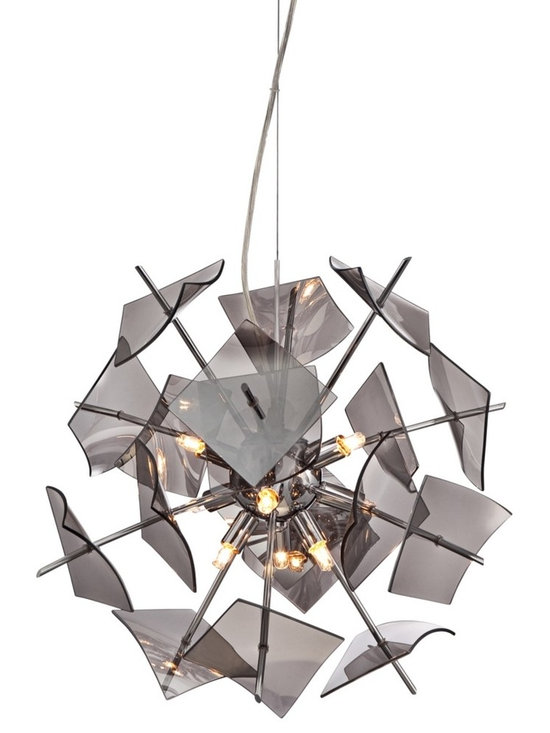 "Possini Euro Design - Minardi Chrome 18 1/2"" Wide Modern Pendant Light - Minardi modern pendant light. Chrome finish. Includes nine 40 watt G9 halogen bulbs. 18"" wide.  Minardi modern pendant light.  Flat smoke glass.   Chrome finish.  Includes nine 40 watt G9 halogen bulbs.  Measures 18 1/2"" wide 15"" high.   Each glass piece is 4"" wide 4"" deep.   Includes 12 feet of cord.   Canopy is 6"" round.  8.2 lb hang weight."