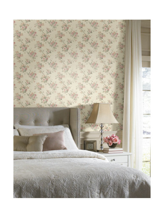 Vintage Wallpaper - Pretty vintage floral wallpaper available from Brewster Home Fashions