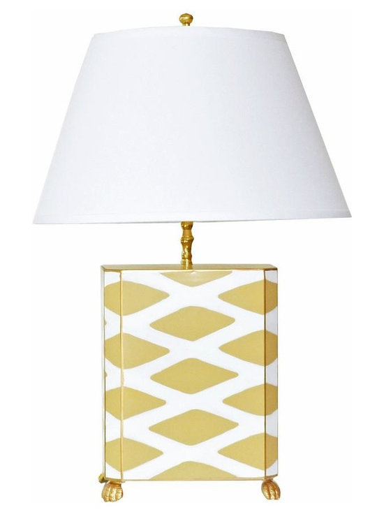 Taupe Parthenon Lamp - Some pieces just make a room. This stunning lamp is one of them. With its modern geometric print and classic taupe and white color palette, this hand painted lamp would make a statement in any interior. Available with white or black shade.