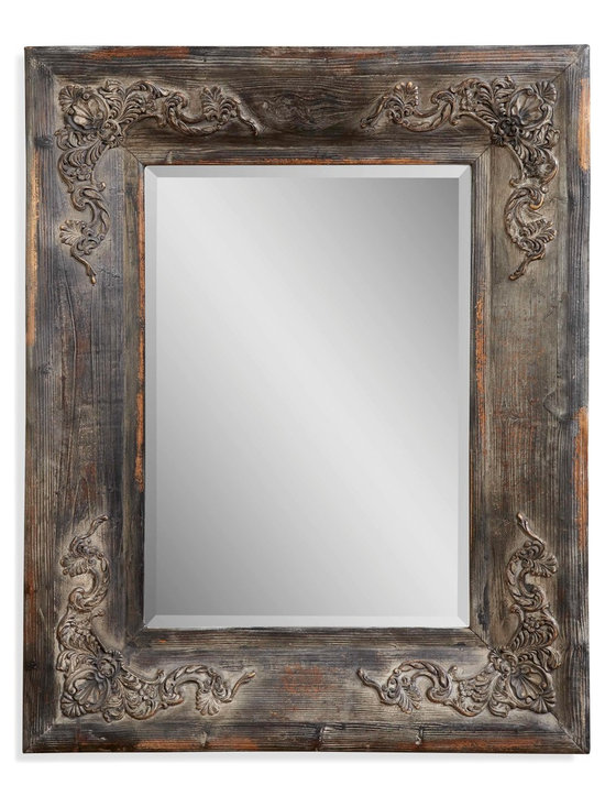 Bassett Mirror - Bassett Mirror Haversham Wall Mirror - This antique charred wood frame is infused with character. Delicate scrollwork graces the corners, making this a unique piece that will stand out in any rustic or traditional decor.