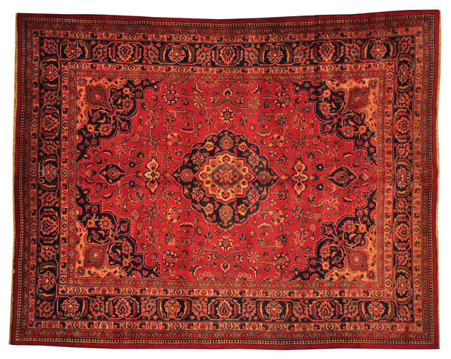 Oriental Rug Overdyed Hand Knotted Rug Persian Mashad Sh8801 transitional-rugs