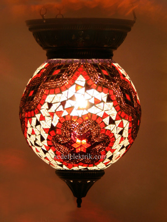 Red Mosaic Turkish Colorfull Pendant Lighting 20cm - Product Properties: