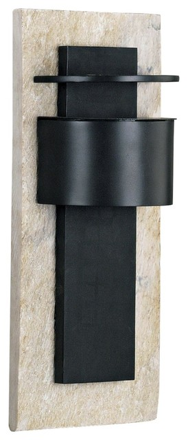 "Asian Pembrooke White Slate and Graphite15"" High Wall Light modern-outdoor-lighting"