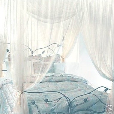 Four Corner Queen Ivory Bed Canopy modern bedding