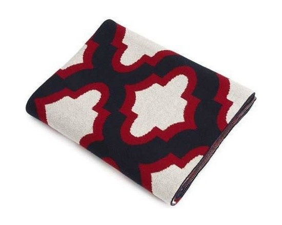 Belle & June - Red/Navy Symbols Cotton Blanket - Divine symmetry defines the bold symbolism woven into this soft cotton throw. Poised in rich, primary colors, it can serve as a cloak while sipping hot cocoa on the sofa, a comfy cape as you curl up with a good book in bed, or a stylish stand-by ready for use while draped on your favorite chair.