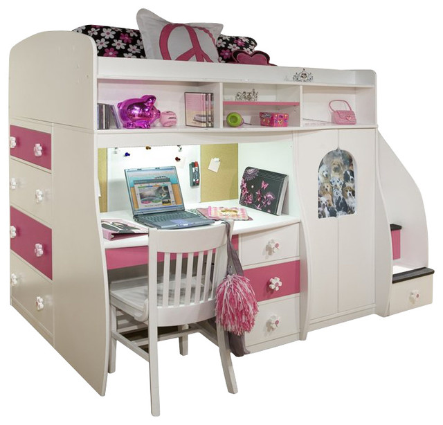 Berg Furniture Play and Study Twin Loft Bed transitional-kids-beds