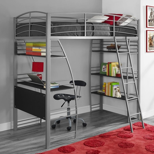 Dhp studio twin loft bed with integrated desk and shelves Kids loft bed with desk